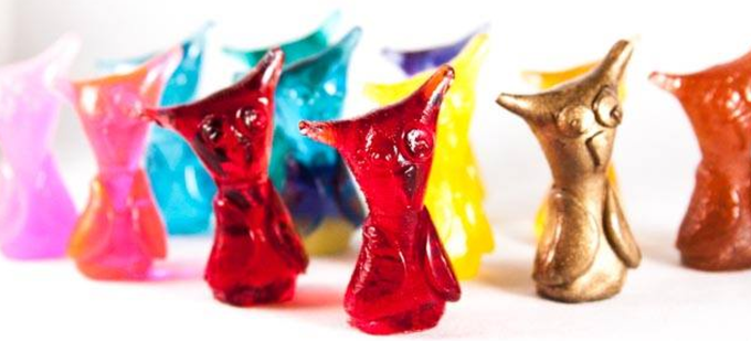 """""""Jeorje"""" resin owls by Rhonda Chase and Billy Boy."""