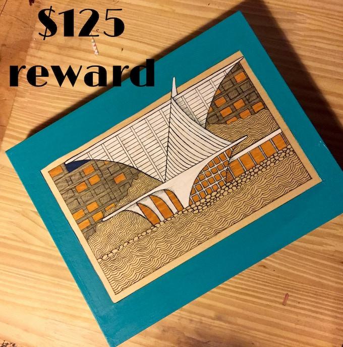 """Calatrava"" original ink illustration created by Waxwing shop owner Steph Davies, $125 reward"