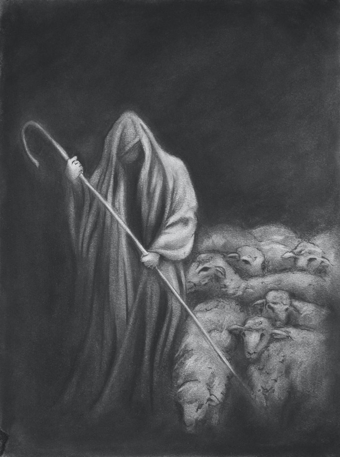 This image will be used for the cover of the narrative companion, as well as the posters. The original is included in THE NARRATIVE COVER ORIGINAL CHARCOAL package. Limit: 1