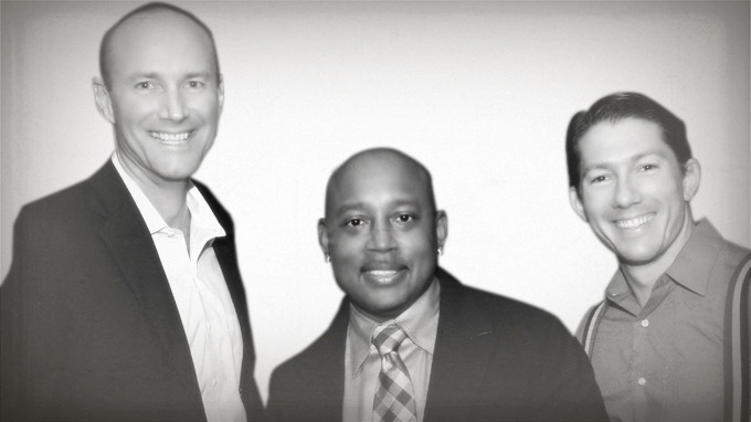 Nick & Nestor with Daymond John at the Miller Lite Tap the Future Competition