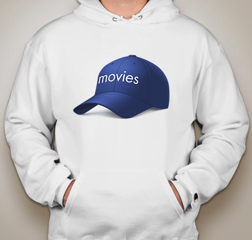 """A stylish hoodie with a picture of """"a hat with the word 'movies' on it"""" on it."""