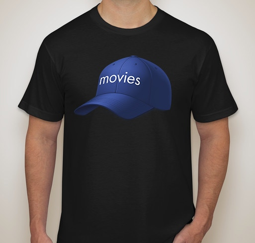 """Black shirt with a picture of """"a hat that says the word 'movies' on it"""", on it."""