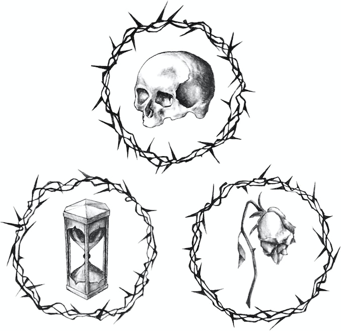 This image of the three memento mori symbols above comes in a package together with the image of the two memorial symbols below. It is the THE MEMENTO AND MEMORIAL SYMBOLS package. Limit: 1