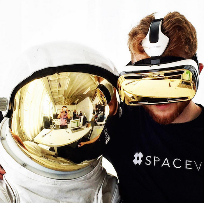 Figure 8 - SpaceVR CEO Ryan Holmes with a Gold Plated Samsung GearVR