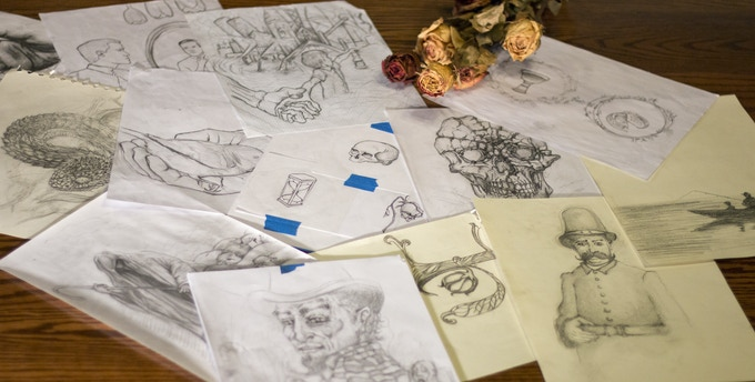A few of the original sketches available (dead flowers not included). Available in the MEMENTO SKETCHES package. Limit: 15