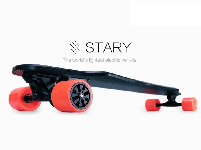 Weighing only 11.6 lbs and achieving speeds of up to 18.6 mph, STARY is the world's lightest and easiest to learn electric skateboard