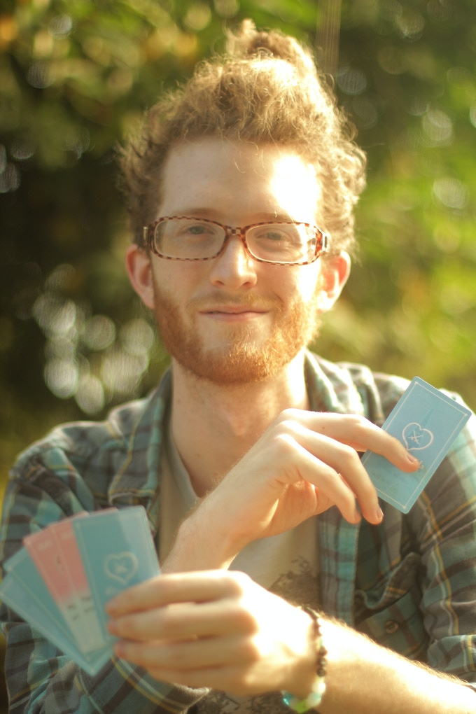 Yours truly, with the near-final Tiny Swords cards.