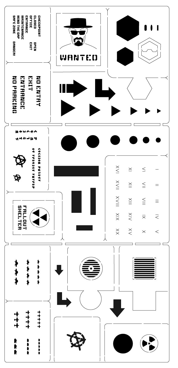 This design is the freebie sheet from our first HS campaign, and is being offered here as a choice for those who would like it. As you can see, it features a variety of useful stencils, including kill markings, Roman numerals, runes, signs and grills.
