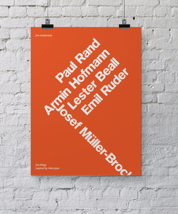 'Five Modernists' – The A3 giclée print, inspired by Mike Joyce's five things