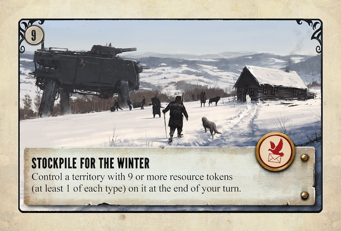 An example of an objective card. Each player receives 2 objectives at the beginning of the game and can complete one of them as a goal.