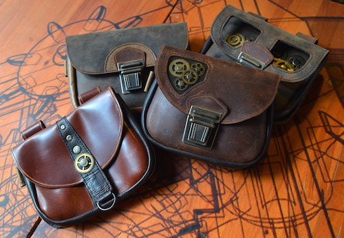 Leather Bags with Brass Clasps