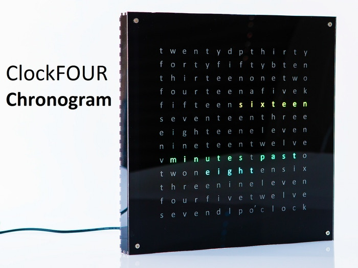A unique full color 28 x 28 x 3 cm clock that tells the time with words. You pick the color, Chronogram tells you the time.