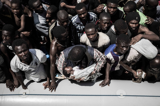 Refugees rescued in the Mediterranean by MSF Refugees rescued in the Mediterranean by MSF.