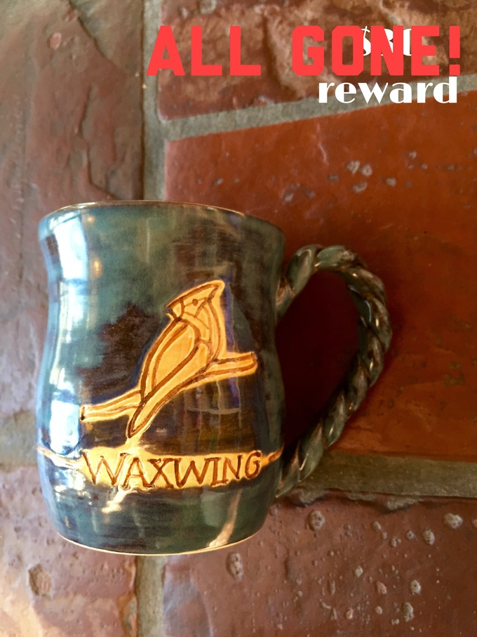 Ceramic Waxwing Mug created by shop artist Hills of Clay, ALL GONE!
