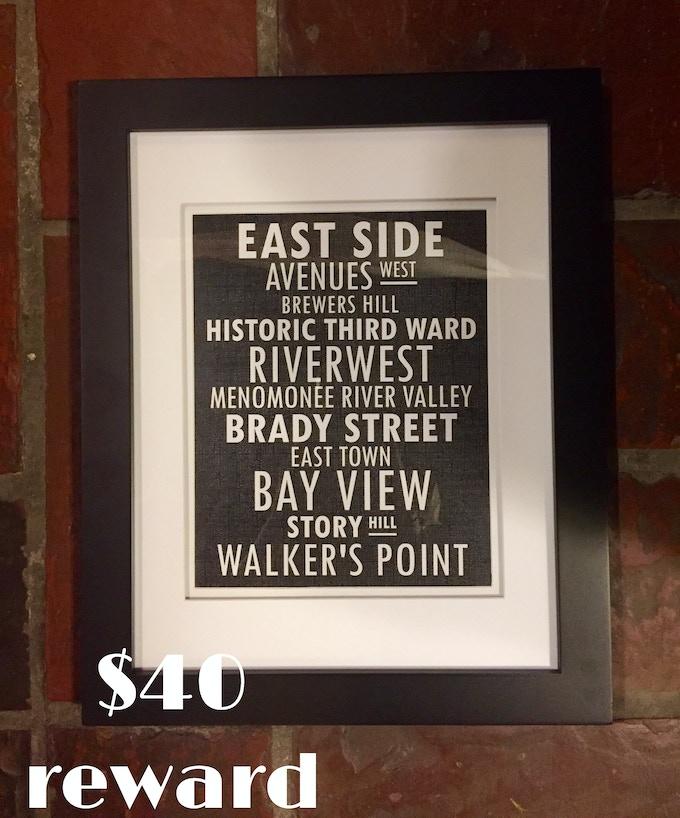 Eastside Typography framed print from Waxwing shop artist Chromatic Black, $40 reward