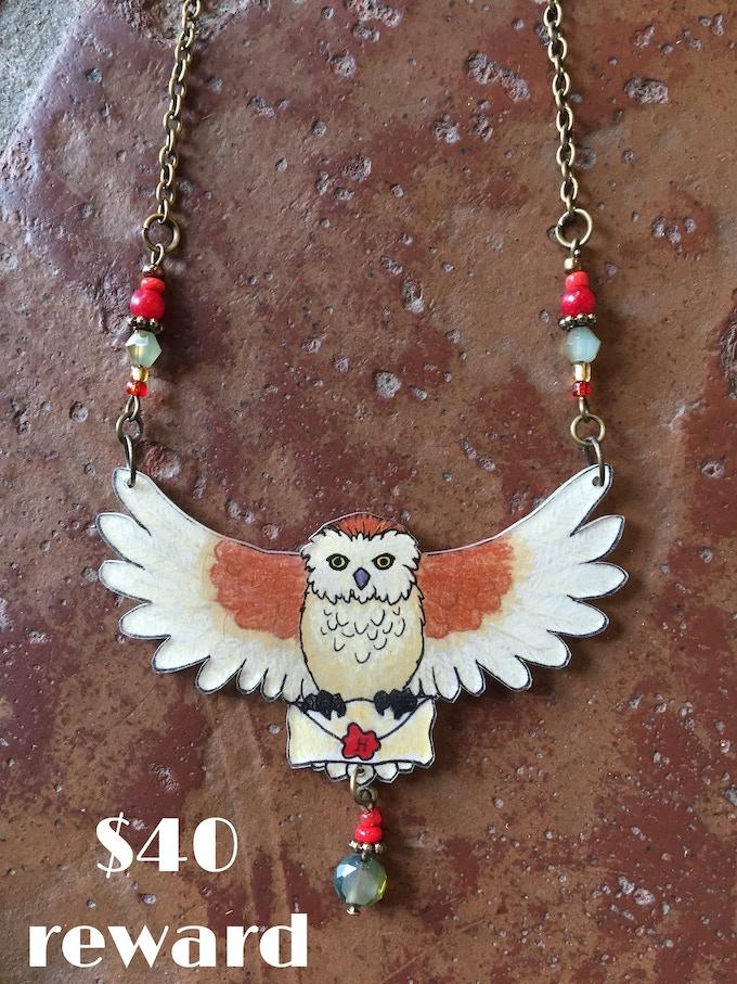 Owl necklace by Waxwing shop artist Jenna Miller, $40 reward