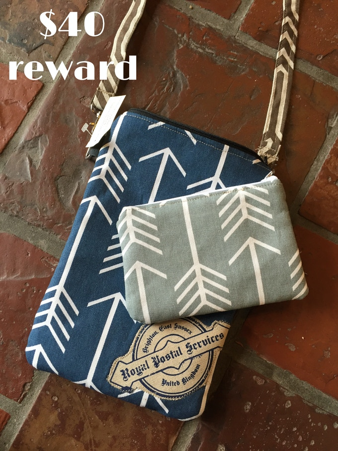 Navy blue bag created by Waxwing artist Little Miss Fancy Pants, $40 reward
