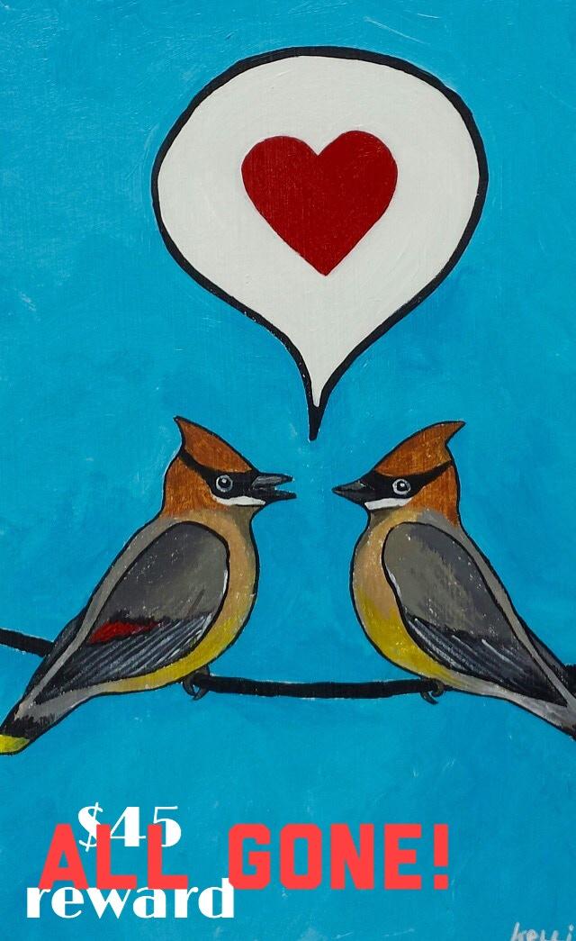 """Cedar Waxwing Lovebirds"" original acrylic painting by Waxwing shop artist Kelli Busch, ALL GONE!"