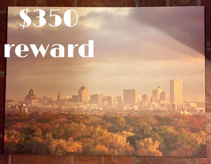 Large canvas Milwaukee skyline print from local photographer Barbara Ali, $350 reward