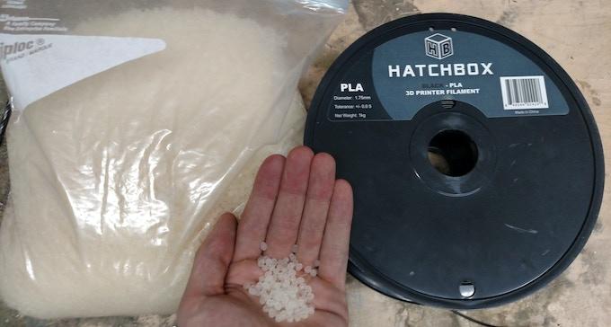 Natureworks 4043D Indego Resin PLA Pellets (Left), Hatchbox 1.75mm PLA Filament (Right)