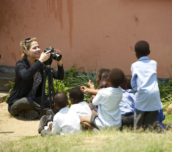 Cassie Jaye filming a documentary in Swaziland