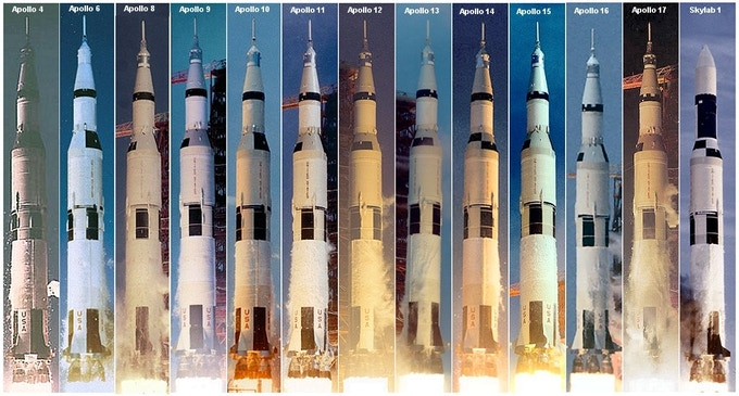 Composite image of every Saturn V launch. Apollo 5 and Apollo 7 were launched on the slightly smaller Saturn IVB launch vehicle.
