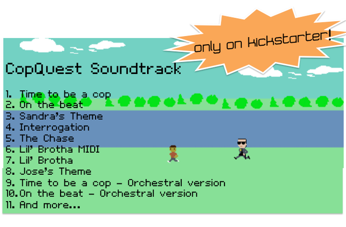 One of our many rewards includes a physical and/or digital copy of our game soundtrack!  Only available on Kickstarter!  Check out some of the music in our game below.