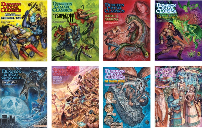 Some of the many adventure modules available for DCC RPG