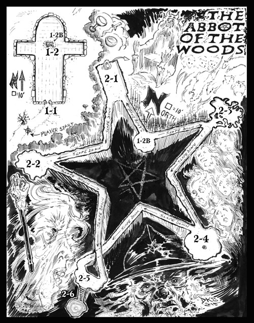 Doug Kovacs' map for Harley Stroh's new adventure, The Abbott Of The Woods