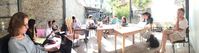 Group seminar with the scholar and artist Ricardo Basbaum, one of the seminar leaders and tutors of Capacete