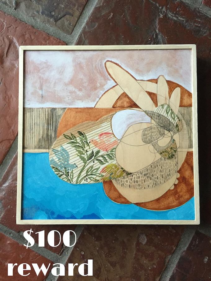 """Wallpaper Birds on Blue"" original mixed media on wood by Waxwing artist Melissa Courtney Bowles, $100 reward"