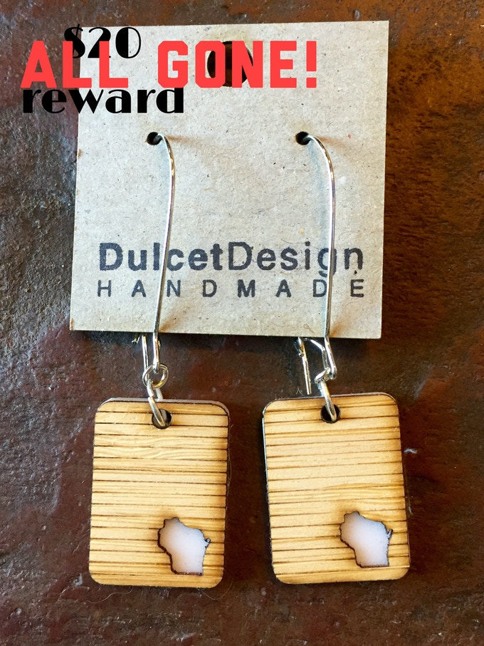 Wisconsin earrings created by Waxwing shop artist Dulcet Designs, ALL GONE!
