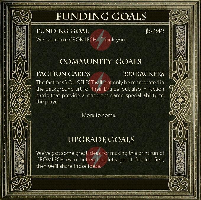 Cromlech funding goals