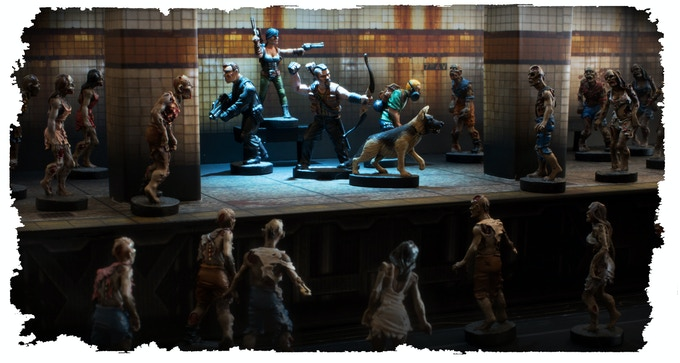 Diorama showing Issue 1 & 2 heroes in action