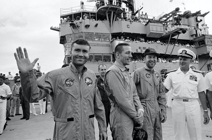 Fred Haise, Jack Swigert and Jim Lovell on the USS Iwo Jima after their safe return from the Apollo 13 mission.