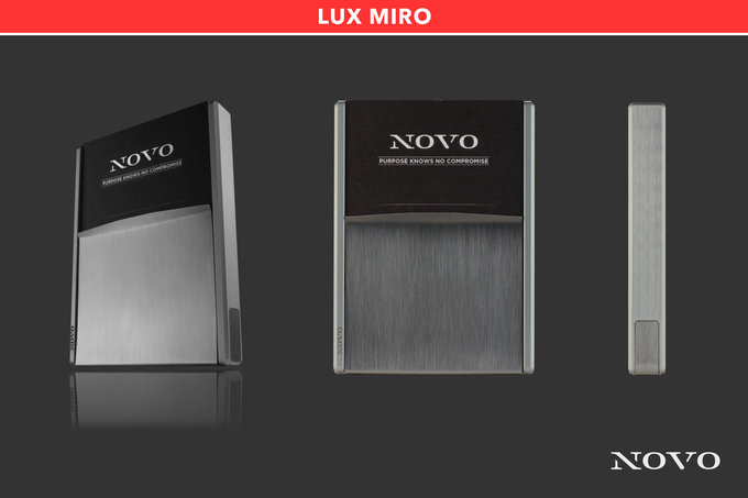 The Lux Miro metal wallet combines the light gray aluminum core with a brushed stainless steel vise for a smooth transition of light metals.