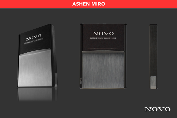 The Ashen Miro metal wallet crosses the gunmetal gray aluminum core with a brushed stainless steel vise for a great contrast of dark and light metals.