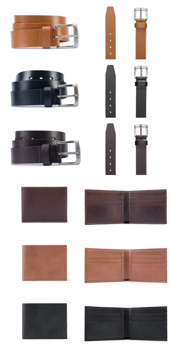 One Matching premium leather belt: Add $35 to your pledge. One premium leather wallet: Add $40 to your pledge.