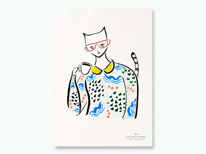 """Coffee Cat"" silk screen poster (A2) for $50 reward"