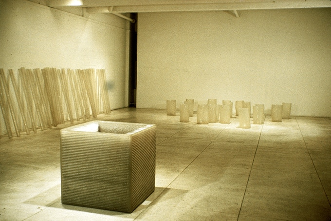 "Installation View of ""Chain Polymers"", Hesse solo show at Fischbach Gallery 1968"