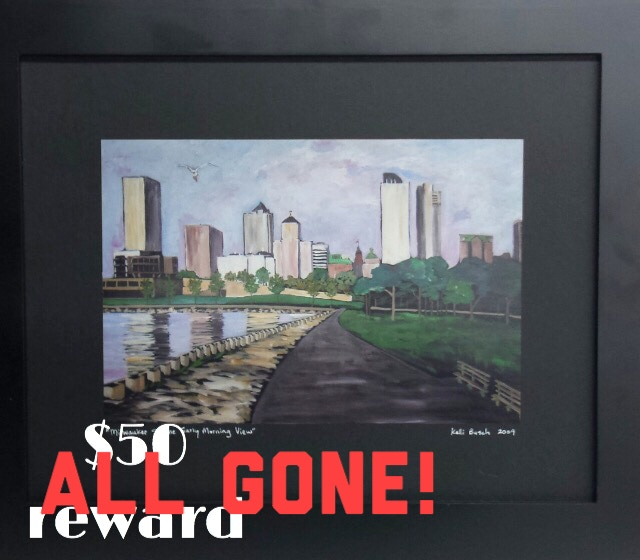 """""""Milwaukee Skyline Early Morning View"""" framed print by Waxwing shop artist Kelli Busch, ALL GONE!"""