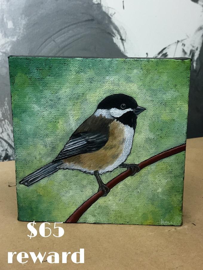 """Black-Capped Chickadee"" original oil painting by Waxwing shop artist Kelli Busch, $65 reward"