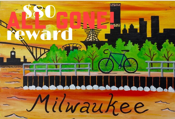 """""""Milwaukee Sunset"""" original acrylic painting by Waxwing artist Kelli Busch, ALL GONE!"""
