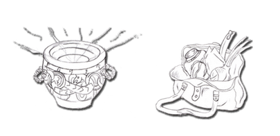 Concept sketches for the dice bags