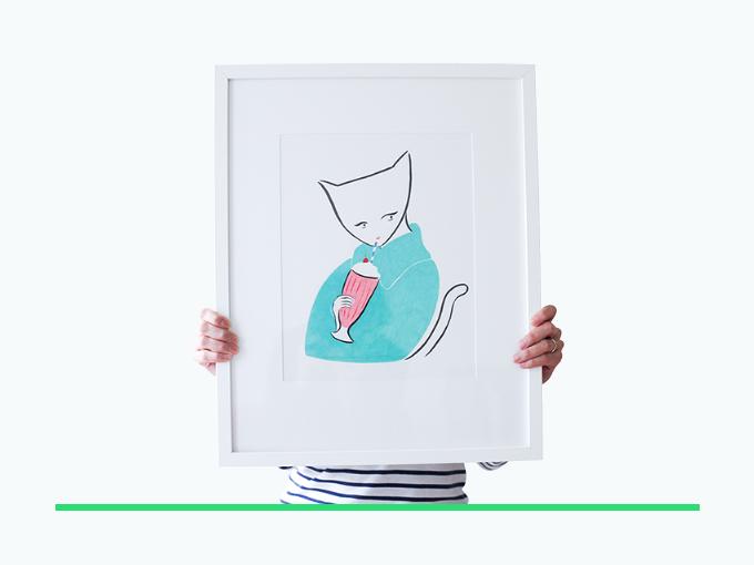 """Milkshake in January"" framed & signed original illustration for $500 reward"