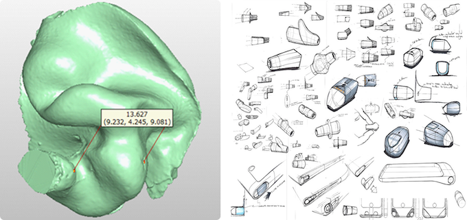 3D rendering of a common ear shape and Skybuds concept sketches