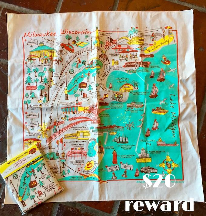 Milwaukee Lakefront Bandanna created by Waxwing shop artist HANmade Milwaukee, $20 reward