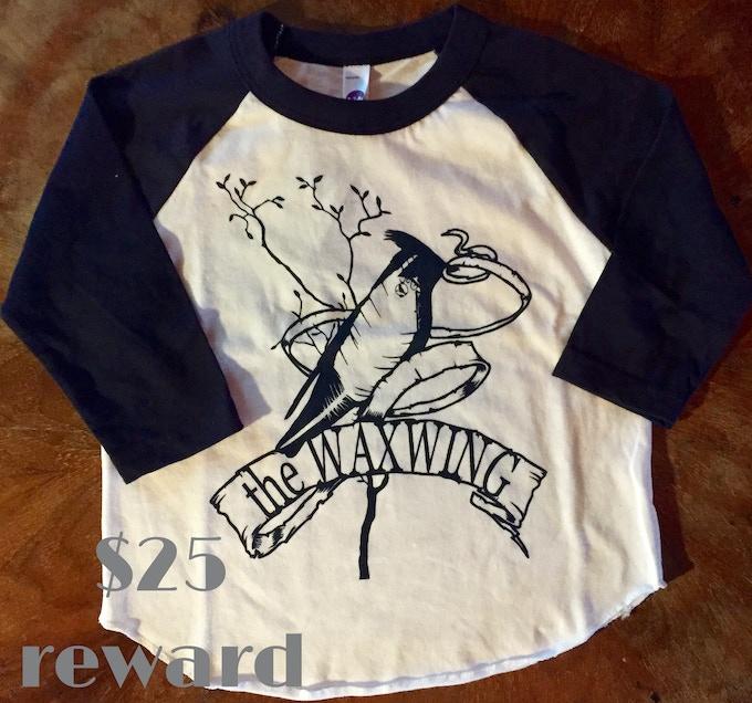 Toddler/youth Waxwing raglan t-shirt printed by Waxwing shop artist Orchard Street Press, $25 reward