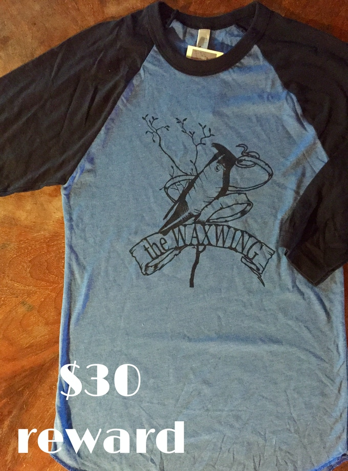 Adult Waxwing Raglan T-shirt printed by Waxwing shop artist Orcgard Street Press, $30 reward