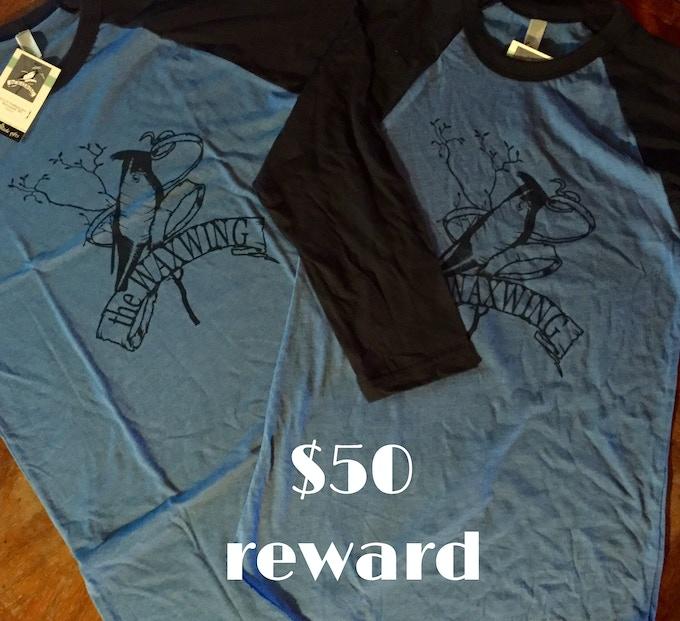 TWO Adult Waxwing Raglan Tees printed by Waxwing shop artist, Orchard Street Press, $50 reward
